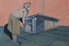 Wartehaus, Öl auf Papier, 2009, 64 cm x 50 cm