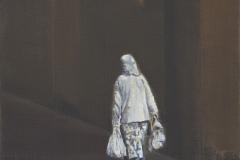 Alte-Frau-mit Tüten, Acryl auf Leinwand, 2017, 30 x 30 cm