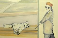 Frau mit Hund, Öl auf MDF, 2010, 50 cm x 40 cm