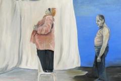 Frau auf Stuhl, Öl auf Leinwand, 2010, 90 x 80 cm