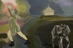 Frau haus Wolf, Acryl auf Leinwand, 2011, 100 x 90 cm