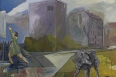 Stadtansicht Wolf Frau, Acryl auf Leinwand, 2011, 120 x 110 cm
