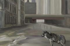Strasse Brücke Wolf, Acryl auf Leinwand, 2011, 90 x 100