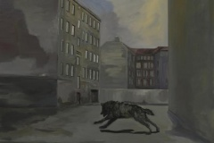 Hinterhof, Acryl auf Leinwand, 2011, 110 x 100 cm