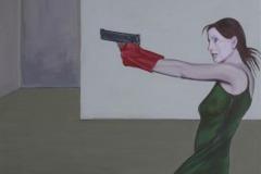 Roter Handschuh, Acryl auf Leinwand, 2012, 100 x 110 cm