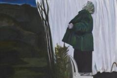 Frau auf einem Stuhl, Acryl auf Leinwand, 2012, 100 x 110 cm