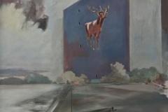 Hirsch Prenzlauerberg, Öl auf Leinwand, 2017, 110 x 100 cm