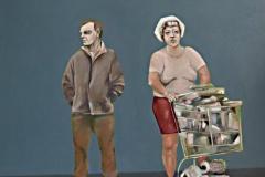 Mann Frau Einkaufswagen, Öl auf Leinwand, 2017, 110 x 100 cm