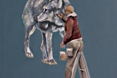 Mann auf Leiter Wolf, Öl auf Leinwand, 2017, 69 x 63,5 cm