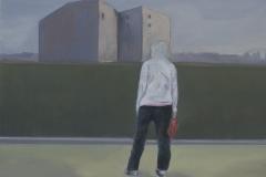 Berlin Skyline, Öl auf Leinwand, 40 x 40 cm, 2018