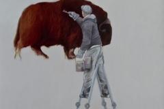 Mann-Leiter-Bison, Öl auf Leinwand, 110 x 100 cm, 2018